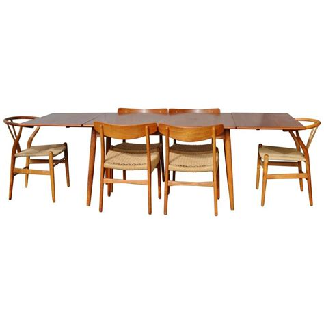 dining table for 6 with leaf impeccable quality hans wegner drop leaf dining table with