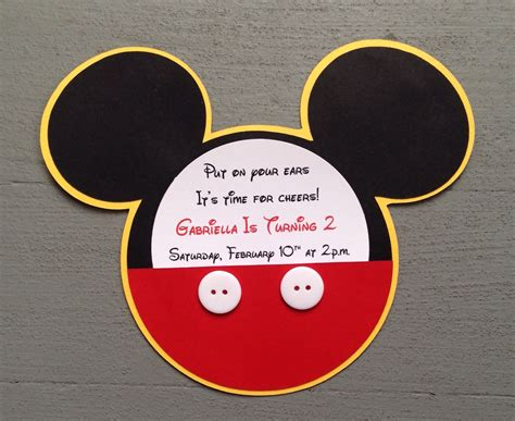 Mickey Mouse Handmade Invitations - newcustom handmade inspired mickey mouse invitations with