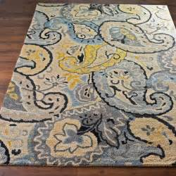 Yellow And Grey Kitchen Rugs Butter And Steel Paisley On Wool New And In India