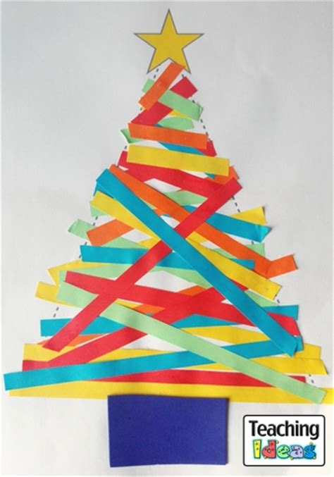 christmas card craft ks2 paper trees teaching ideas