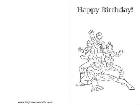 Happy Birthday Card Template Black And White by Free Printable Power Ranger Decorations And