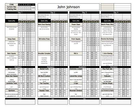 pt fitness excel workout template from excel training designs