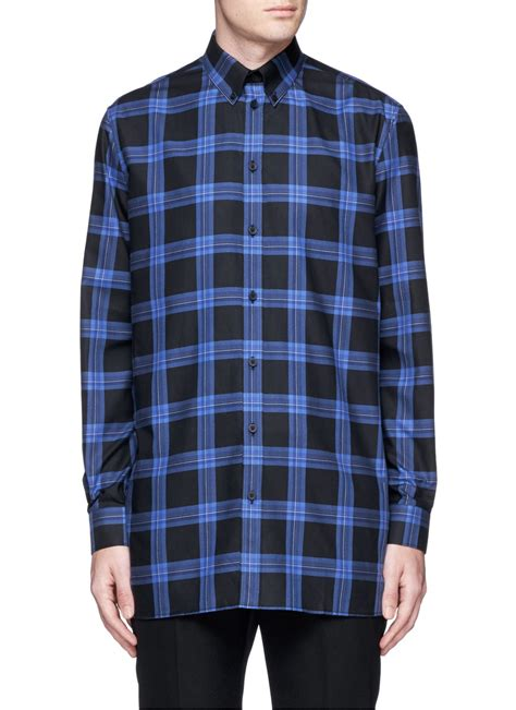 Cotton Plaid Shirt lyst givenchy s plaid twill shirt in blue for