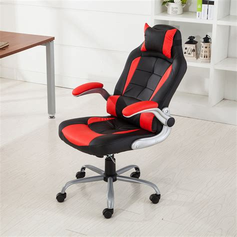 reclining video game chairs racing office chair reclining back game padded headrest pu