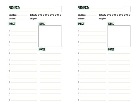 printable half sheet planner pages free printable project planner page paper and landscapes