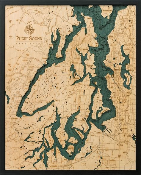 Map Of Puget Sound And by Bathymetric Map Puget Sound Washington Scrimshaw Gallery