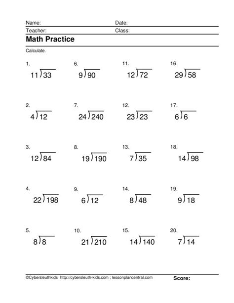 free printable long division worksheets without remainders long division worksheets math worksheets for all