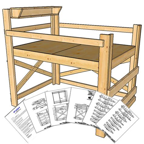 Full Double Size Loft Bed Plans Medium Height Op Loftbed Free Plans For Building Bunk Beds