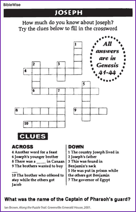 Crossword Puzzle about Joseph   Kids Korner   BibleWise