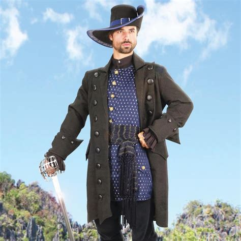 blackbeards black cotton brocade pirate coat
