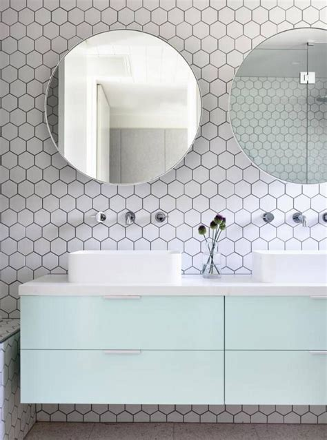 how were mirrors mounted on tile wall is there tile mint floating cabinetry hex honeycomb tile round mirrors