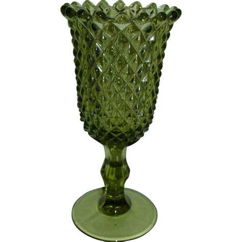 Footed Glass Vase by Westmoreland Glass Vase Green Sawtooth Point