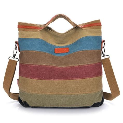 Tas Polos Kanvas Striped Khaki canvas striped crossbody bags vintage contrast color