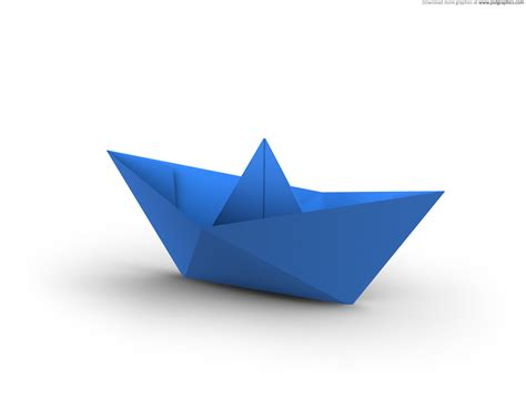 Paper Ship - white and blue paper boats psdgraphics