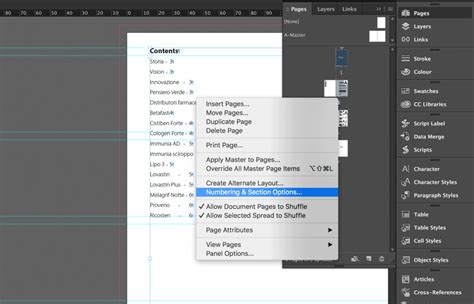 indesign sections indesign how to create a table of contents updated cc