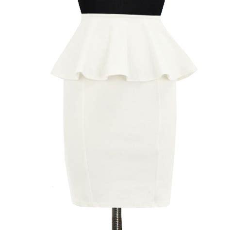 white peplum pencil skirt custom fit handmade ponte