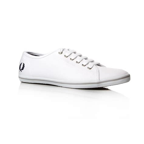 fred perry canvas sneakers in white lyst