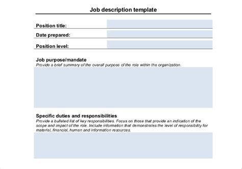 basic description template description templates 32 free word excel pdf