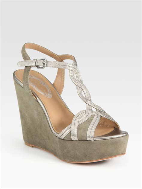 elie tahari lynette suede and metallic leather wedge