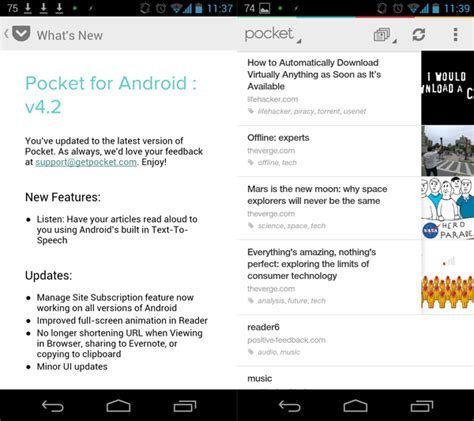 pocket for android pocket for android adds text to speech
