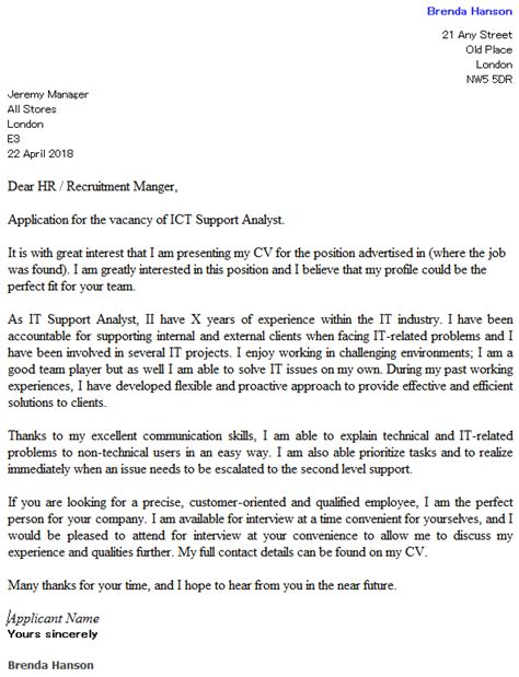 support cover letter ideas collection technical support analyst