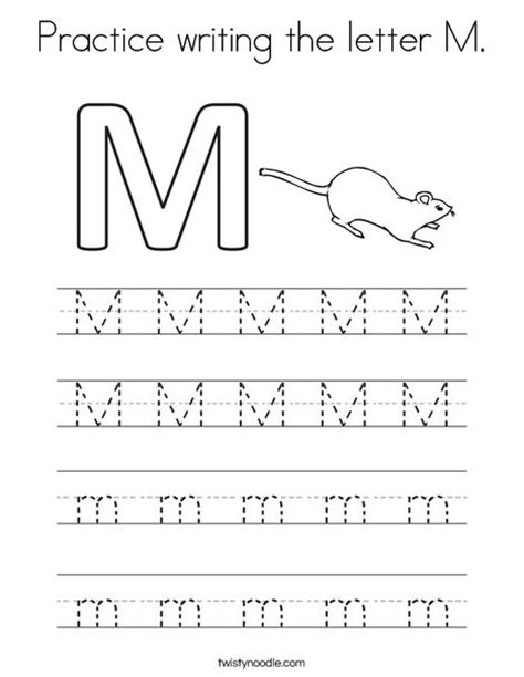 kindergarten coloring sheets letter m practice writing the letter m coloring page twisty