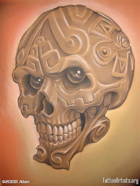 aztec art tattoo designs aztec skull artists org