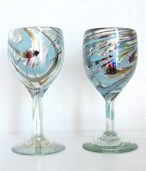 hand blown wine glasses arte deco edition groovy 70 s turquoise blown wine
