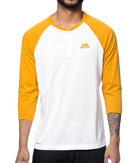 T Shirt Baseball Nike White nike sb dri fit white yellow henley baseball t shirt