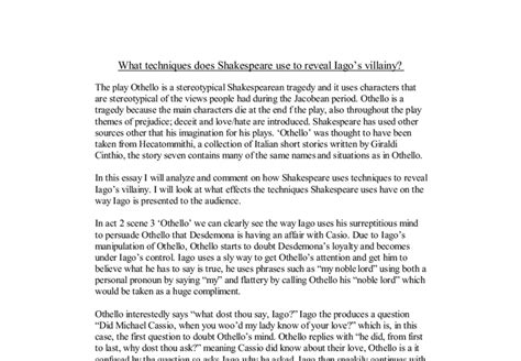 Othello Literary Essay by Othello Techniques Essay