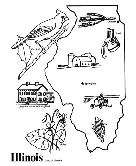 coloring page map of illinois illinois state outline coloring page cing pinterest