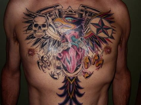 colored tattoos for men chest images designs