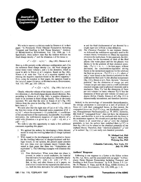 Appeal Letter To Journal Editor Letter To The Editor Commenting On A Poroelastic Finite Element Formulation Including Transport