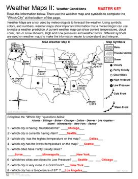 Forecasting Weather Map Worksheet 1 by Weather Maps Ii Practice Current Conditions And Forecast