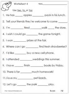 to too or two worksheets
