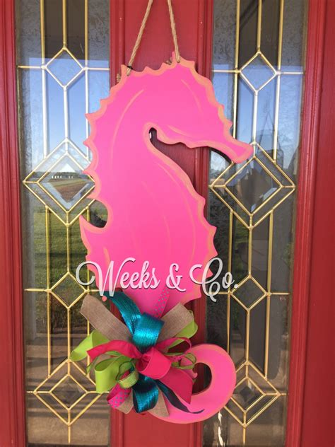 Front Door Hangers Seahorse Summer Door Hanger Front Door By Weeksandco On Etsy