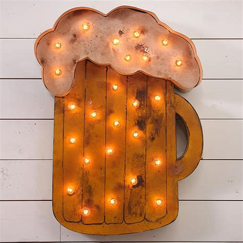Rustic Kitchen Canisters by Design Legacy Lighted Beer Mug Sign Lsmug