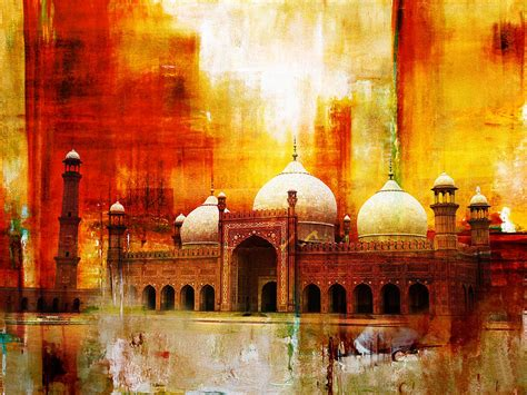 Burj Al Arab Inside badshahi mosque or the royal mosque painting by catf