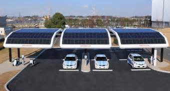 Electric Vehicles Charging Stations Honda S Solar Powered Electric Vehicle Charging Station