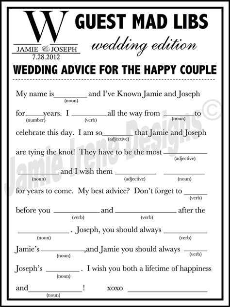 mad libs for wedding guests printable wedding mad lib a guest book alternative diy