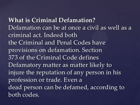 defamation section law of defamation