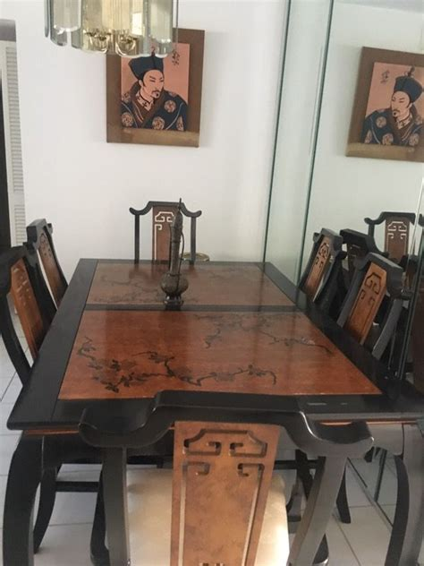 oriental style dining room table  chairs  sale