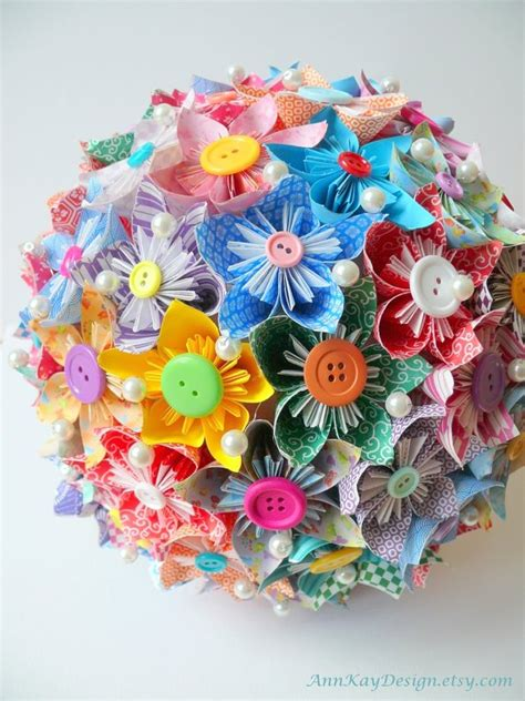 Origami Boquet - origami bridal bouquet handmade wedding emmaline bride