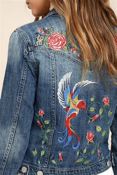 jean jacket design ideas blank nyc wild child denim jacket embroidered jacket