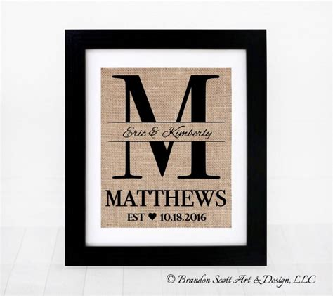 Wedding Anniversary Gift With Name by Burlap Monogram Bridal Shower Gift Burlap Wedding