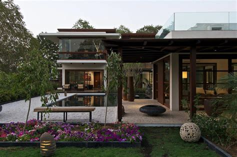 courtyard house in ahmedabad india home design terrace pergola courtyard house by hiren patel architects