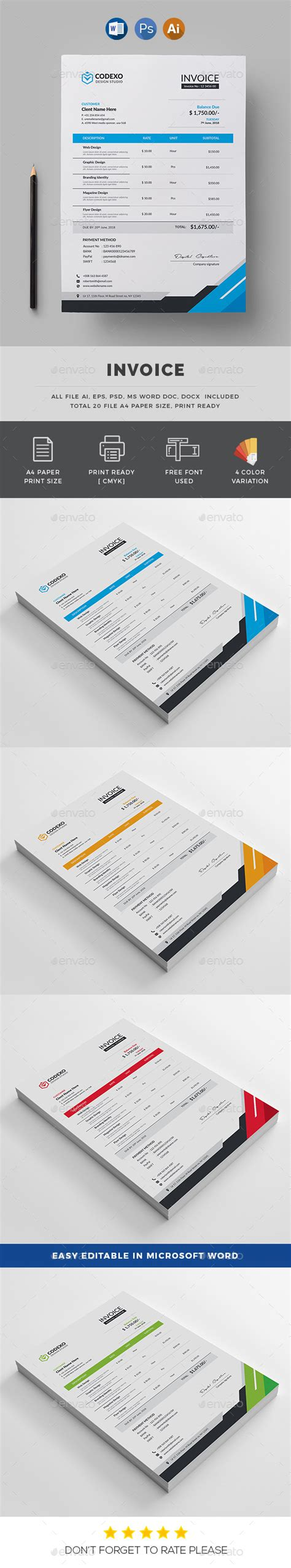 graphic design invoice template illustrator 187 tinkytyler