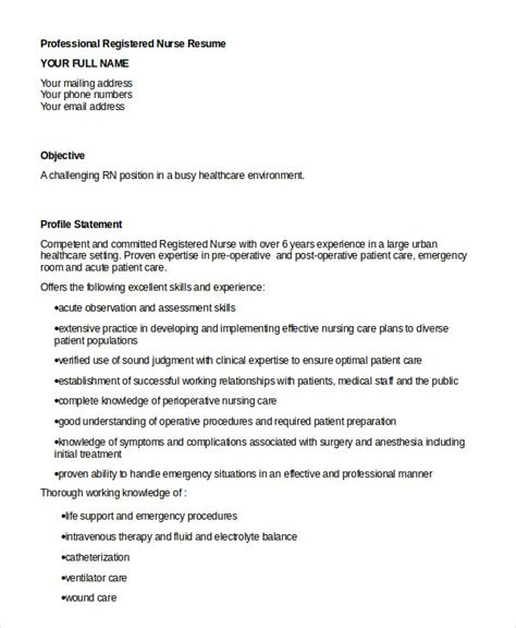 professional nursing resume template registered resume exle 6 free word pdf