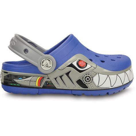 Light Up Crocs by Crocs Crocslights Robo Shark Clog Sea Blue Silver