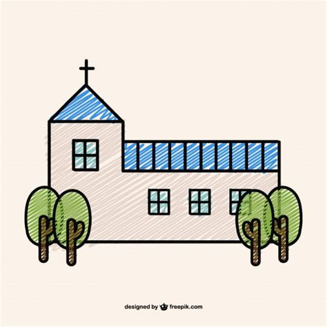 doodle religion doodle design of a christian church vector free